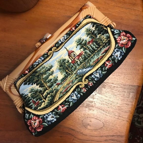 Vintage Handbags - Vintage Mary Poppins Needlepoint Carpet Clutch